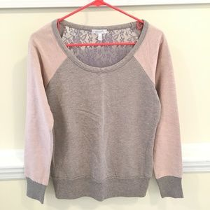 3/$12 dELiA*s Pink & Gray Lace Back Sweater Size M